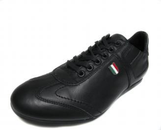 Мъжки спортни обувки естествена кожа черни EFNL-17497