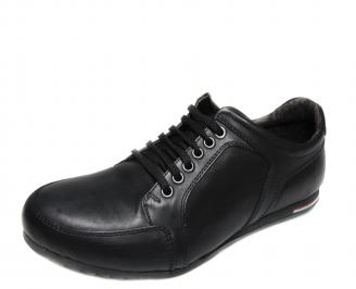 Мъжки спортни обувки естествена кожа черни UXMD-17921