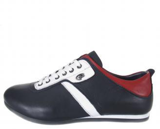 Мъжки спортни обувки естествена кожа  сини QHGQ-18553