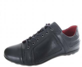 Мъжки спортни обувки естествена кожа тъмно сини IDSY-19879