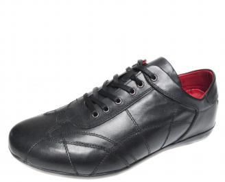 Мъжки спортни обувки естествена кожа черни APKY-19888