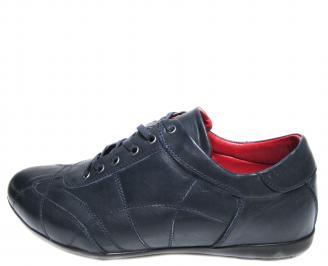 Мъжки спортни обувки естествена кожа тъмно сини BEAE-19889