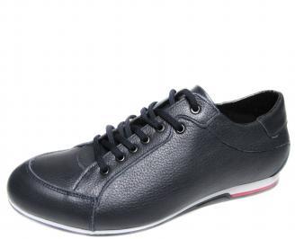 Мъжки спортни обувки естествена кожа тъмно сини 2