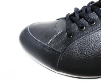 Мъжки спортни обувки естествена кожа тъмно сини SJQV-19892