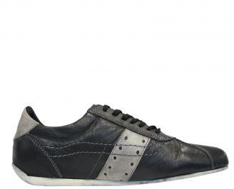 Мъжки спортни обувки от естествена кожа черни JCPG-10108