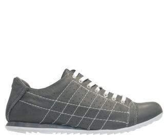 Мъжки спортни обувки от естествена кожа сиви NVPM-10114