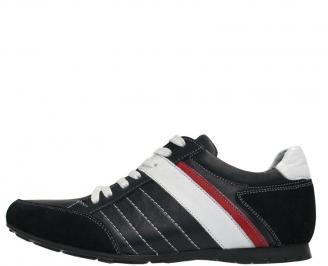 Мъжки  спортни  обувки от естествена кожа сини BUSX-10043