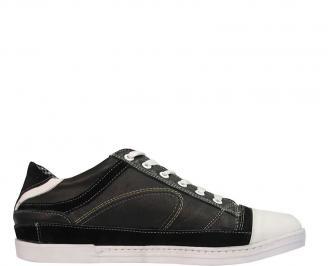 Мъжки спортни обувки от естествена кожа черни NZAT-10074
