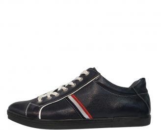 Мъжки спортни обувки от естествена кожа синьо MMFU-10078