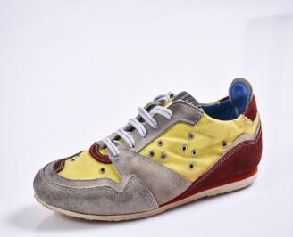 Мъжки спортни обувки текстил/велур жълти ISTJ-27001