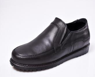 Мъжки спортно елегантни  обувки естествена кожа черни NXJK-1010433