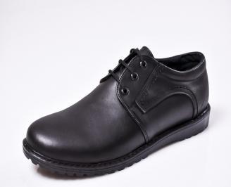 Мъжки спортно елегантни  обувки естествена кожа черни SPSD-1010434