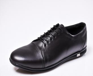 Мъжки спортно елегантни  обувки естествена кожа черни BSGL-1010435
