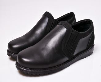 Мъжки спортно елегантни  обувки естествена кожа черни VDOF-1010436