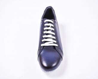Мъжки спортно елегантни  обувки естествена кожа сини KSOE-1010787