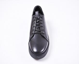 Мъжки спортно елегантни  обувки естествена кожа черни SXAQ-1010815