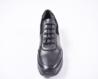 Мъжки спортно елегантни  обувки естествена кожа черни TTTB-1010818
