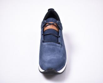 Мъжки спортно елегантни  обувки естествена кожа сини EHRL-1010957
