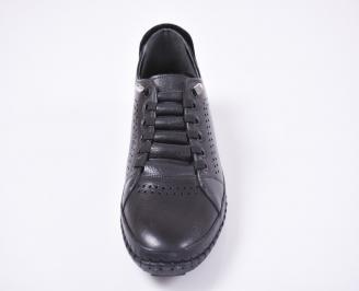 Мъжки спортно елегантни обувки естествена кожа черни KZMP-1010958