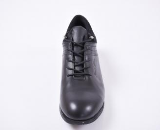 Мъжки спортно елегантни обувки естествена кожа черни PAPT-1010959
