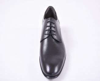 Мъжки спортно елегантни обувки естествена кожа черни VUQJ-1010960