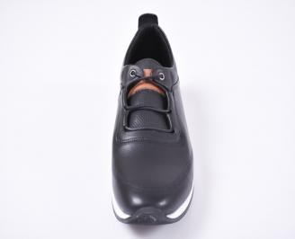 Мъжки спортно елегантни обувки естествена кожа черни UIWX-1010962