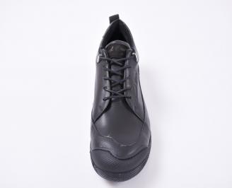 Мъжки спортно елегантни обувки естествена кожа черни SMOX-1010963