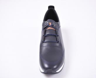 Мъжки спортно елегантни  обувки естествена кожа сини KDLH-1010964