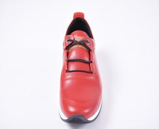 Мъжки спортно елегантни обувки естествена кожа червени HWPZ-1010967