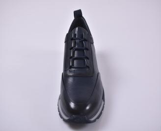 Мъжки спортно елегантни  обувки естествена кожа сини IMTS-1010969