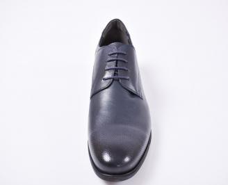 Мъжки спортно елегантни  обувки естествена кожа сини HAUK-1010970