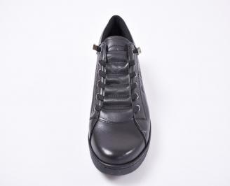 Мъжки спортно елегантни обувки естествена кожа черни YFTK-1010973