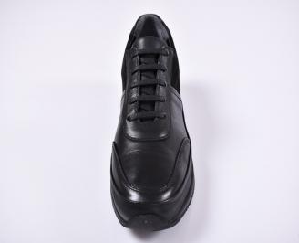 Мъжки спортно елегантни обувки естествена кожа черни PKSP-1011228