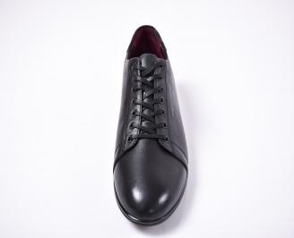 Мъжки спортно елегантни обувки естествена кожа черни RWYS-1011230