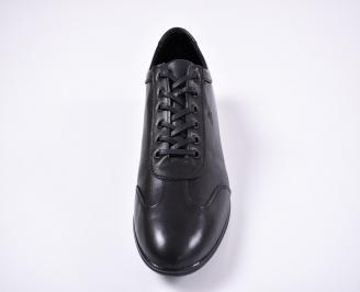Мъжки спортно елегантни обувки естествена кожа черни QORZ-1011231