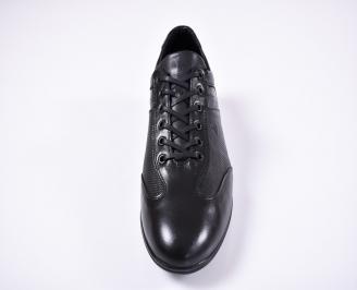 Мъжки спортно елегантни обувки естествена кожа черни XBXH-1011232