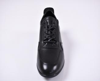 Мъжки спортно елегантни обувки естествена кожа черни LQCW-1011234