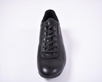 Мъжки спортно елегантни обувки естествена кожа черни PCWT-1011235
