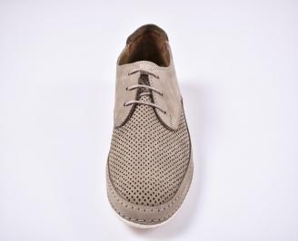 Мъжки спортно елегантни обувки естествена кожа бежови SMZQ-1011238