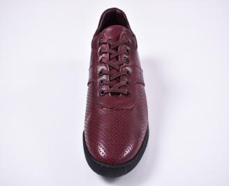 Мъжки спортно елегантни обувки естествена кожа бордо CYGW-1011240