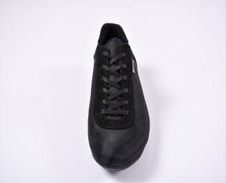 Мъжки спортно елегантни обувки естествен велур черни UQUT-1011241
