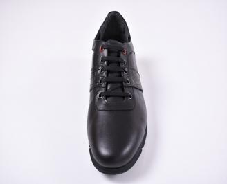 Мъжки спортно елегантни обувки естествена кожа черни TBSH-1011242