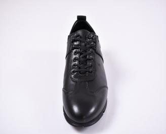 Мъжки спортно елегантни обувки естествена кожа черни ONHU-1011243
