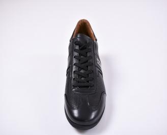 Мъжки спортно елегантни обувки естествена кожа черни OBQW-1011247