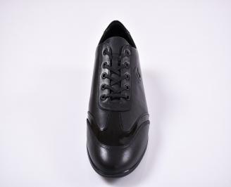 Мъжки спортно елегантни обувки естествена кожа черни GEHD-1011248