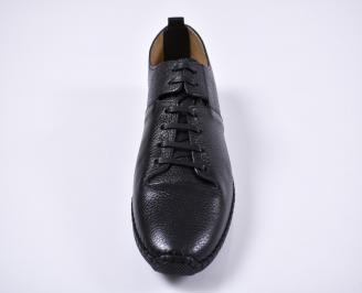 Мъжки спортно елегантни обувки естествена кожа черни ABHT-1011251