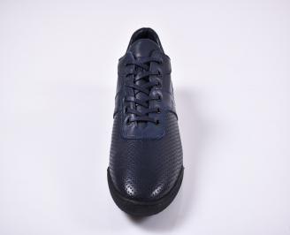 Мъжки спортно елегантни обувки естествена кожа сини NNFA-1011253