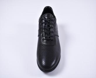 Мъжки спортно елегантни обувки естествена кожа черни CCTN-1011254
