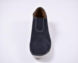 Мъжки спортно елегантни обувки естествен набук сини IQTS-1011255