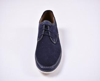 Мъжки спортно елегантни обувки естествен набук сини VXOM-1011257